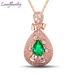 Изумрудная форма онлайн-1.68 Ct грушевидной формы драгоценный камень реальный алмаз изумруд кулон твердые 18K/750 розовое золото ювелирные изделия для продажи WU267