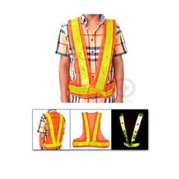 Wholesale construction leads - 16 LED Light Safety Vest with Prismatic PVC Reflective Stripe for Traffic Safety and Construction Site Free Shipping