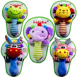 ours musicaux Promotion Usine En Gros Mignon Animal Infantile Main Cloche Bébé Hochets En Peluche Jouet D'apprentissage Jouet 5 Choix DHL Livraison Gratuite