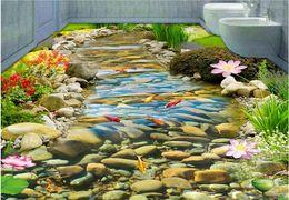 Naturboden online-3d Tapeten Natur HD-Stream Goldfisch Lotus 3D 3D Stockwerkbad Tapete Zeichnung