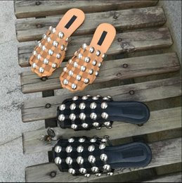 Wholesale Girls White Cotton Slip - Designer Women Mens Amelia Leather Stud Slippers Blue Denim Amelia Slides girls shoes Slipper studded satin slipper Summer Sandals 34-43