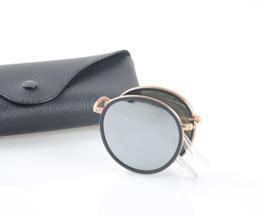 Pescado de metal vintage online-Alta calidad gafas de sol plegables de pesca nueva moda Vintage espejo marco de metal hombres mujeres Retro gafas de sol
