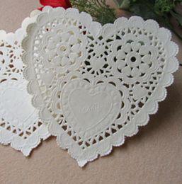 "Wholesale Doily Hearts - Heart Shape 5.5"" inch paper doilies doyleys placemat craft for wedding tableware scrapbooking decoration 100pcs lot"