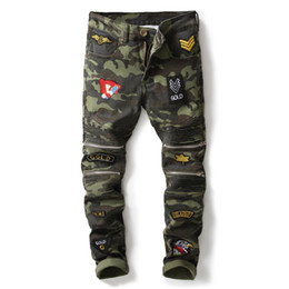 Wholesale camouflaged army jeans - New Arrival Camouflage Army Green Motorcycle Multi Zippers Denim Biker Jeans Men Skinny 2018 Slim Jeans Hiphop Washed Trousers