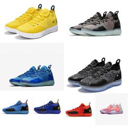 Недорогие новые кефирные сапоги онлайн-Дешевые новые женские kd 11 баскетбольные кроссовки Oreo Blue Yellow Black Boys Девушки молодежные дети Kevin Durant KD11 XI авиабилеты полеты кроссовки сапоги
