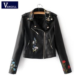 Wholesale wine leather woman jacket - Embroidery faux leather coat Motorcycle zipper wine red leather jacket women Fashion cool outerwear winter jacket Free shipping