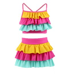 Wholesale bikini skirt sets - Children Candy colors Swimwear outfits girls Layered top+skirts 2pcs set cartoon 2018 summer Bikini Kids Swimsuit 3 colors C3872