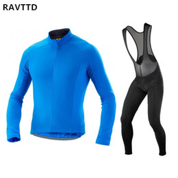 Wholesale thermal clothing for men - 2018 Winter Thermal Fleece Cycling Jersey and Bib pants Kits Mtb Cycle Long Sleeve Bicycle Wear Bike Cycle Clothing for Men