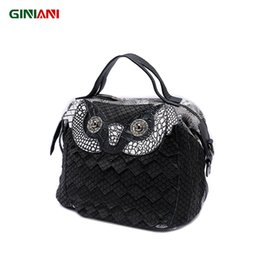 Wholesale Owl Leather Bag - GINIANI Genuine Cow Leather Women's High Quality Serpentine Small Handbag Ladies Carton Animal Owl Little Shoulder Bags