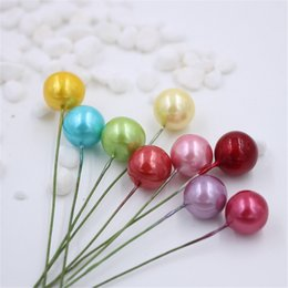 Wholesale Cheap Plastic Decoration - cheap 40pcs Plastic Pearl Artificial Stamen Flower For Wedding Decoration DIY Scrapbooking Decorative Wreath Pistil Flowers