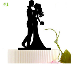 Wholesale bride groom cake toppers - Wedding Romantic Black Cake Topper Bride and Groom Cakes Stand Decor Cake Tools Bakeware Birthday Party Cake Stands Decoration TX 002