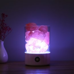 Wholesale Salt Crystals Wholesale - Practical USB Charging Nightlight Help Sleep Himalaya Crystal Salt Lamps Plastic Seven Colors Table Night Lamp For Home Decor 30yx B