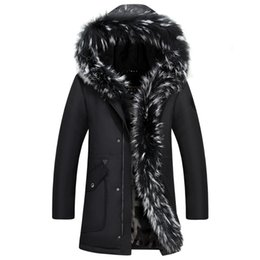 Wholesale Long Fur Collar Coat - Men Down Jacket Winter Long Coat Duck Down Parkas Real Raccoon Fur Collar Snow Windbreaker Warm Thick Cashmere Tops 5XL Big Size