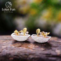 Lotus Fun Real стерлингового серебра 925 натуральный стиль творческий ручной работы ювелирные изделия мой маленький сад серьги для женщин Brincos S18101207 от