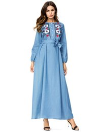 1bf4d88096a 2018Autumn new Women s Middle east Muslims Embroidered denim dress Elegant  embroidering maxi dress Plus Size Women s Fashion Cowboy dress