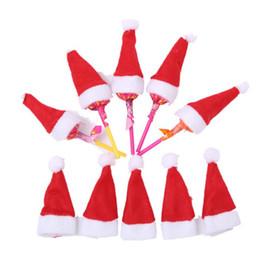 bonés para enfeites de natal Desconto Mini natal papai noel chapéu pirulito chapéu de casamento doces presente tampas de decoração da árvore de natal w4 * h7cm enfeite de natal decoração kka6021