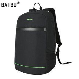 Wholesale External Blue - BAIBU Brand Men External USB Charge Backpack Male Mochila Escolar 15.6 inch Laptop Backpack women Urban Backpack for teen