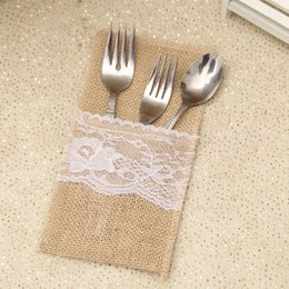 festive tableware Australia - New Burlap Cutlery Holder Bag Vintage Shabby Linen Lace Tableware Pouch Packaging Fork Knife Pocket Party Decoration