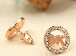 Wholesale Rose Numbers - Studded MK letter stud earrings fashion 3 color stud earrings gold silver rose gold