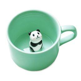 Wholesale Chocolate Milk - Creative Small Ceramic Milk Mug with Animals Cute Cartoon Three-dimensional Coffee Mug Heat-resistant Celadon cup wholesale
