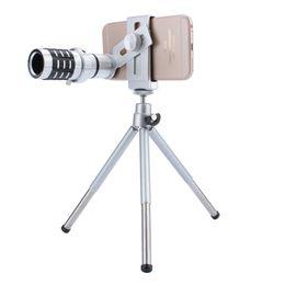 Trípode iphone telescopio online-Telescopio Lente de la cámara 12X Zoom Teleobjetivo Lente óptica Cámara Telescopio Lente + Soporte para trípode para iPhone Samsung Todo el teléfono