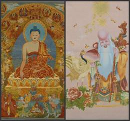 Pittura di seta del ricamo online-Tibet Dipinti Collectable Seta Mano Vernice Buddismo Ritratto Thangka Arazzo Delicato Tibetano Buddha Ricamo Pittura Vendita Calda 26zd gg