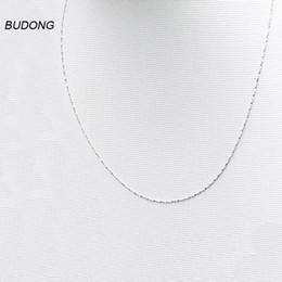 Nickelfreie silberne ketten online-BUDONG 40cm / 45cm lang 925 Sterlingsilber-Halskette für Frauen 0.8mm Breite feste silberne Nickel-freie Halsketten-Ketten-feine Schmucksachen