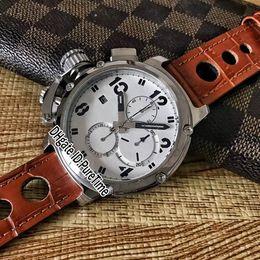 2019 relojes para zurdos Nueva caja de acero de quimera U-51 Esfera blanca Marca negra Miyota Cuarzo Cronógrafo Reloj para hombre Cronómetro Relojes de cuero marrón para zurdos relojes para zurdos baratos