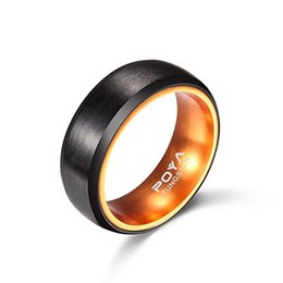 Wholesale Orange Tungsten - latest style 8mm Black Matte Finish Tungsten Carbide Rings with Orange Anodized Aluminum Inset Mens Wedding Band,Size7-15,Include Half Size