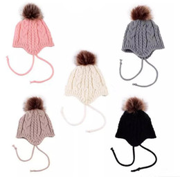 Wholesale knit earflap - INS Baby Girls Knitted Hats Ball Warm Ear Protection cap Warm Kids Baby Toddler Winter Earflap Hat Knitted Hats B11