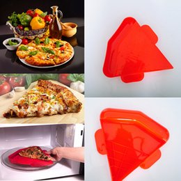 Wholesale pizza plastic - Rapid Pizza ReHeater Pizza Heater Microwave Oven Pizza Tray PP Thermostability Bakeware Tool Triangle Baking tool FFA231 60PCS