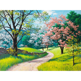 Wholesale Cherry Blossom Panel - Frameless Cherry Blossoms Diy Painting By Numbers Landscape Modern Wall Art Picture Kits Paint On Canvas For Living Room Artwork