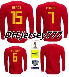 Wholesale Spain Long Sleeve - TOP QUALITY 2018 Spain red MORATA ASENSIO home soccer jersey 17 18 FABREGAS ISCO A.INIESTA SILVA RAMOS Espan football shirts Long sleeves
