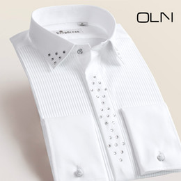 Wholesale Men S Wedding White Shirts - 2017 New Fashion Men Dress Shirts Long Sleeve Men's Tuxedo Shirts Male Wedding Shirts for Men Plus Size