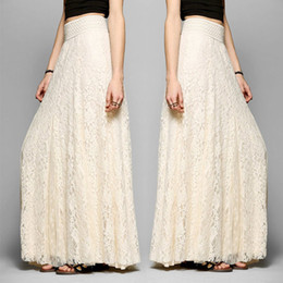 Wholesale Maxi Elastic Waist Chiffon Skirt - Women Double Layer Chiffon Pleated Long Lace Maxi Sundress Elastic Waist Skirts Summer Beach Skirt