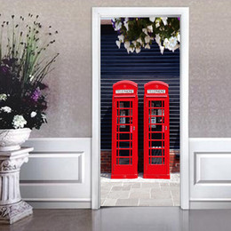 Wholesale morden fashion - 2 Pcs Set Two Red Phone Booths Door Stickers DIY Fashion Morden Style Poster Bedroom Home Decoration PVC Waterproof Wall Mural