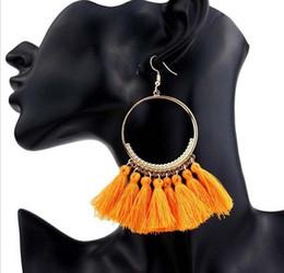 pendentifs africains faits à la main Promotion Boucles d'oreilles à la main ethnique bohème pompon Bohême vintage femme bijoux Boucles d'oreilles à long pompon pour les femmes 2018 année cadeau Epacket Gratuit