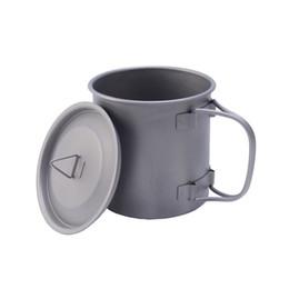 Wholesale titanium camp pot - 0.75L Outdoor Titanium Pot Titanium Water Mug Cup with Lid and Foldable Handle Camping Pot Cooking Pots Picnic Hang Pot