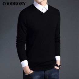COODRONY Merino Wolle Pullover Herren Herbst Winter dicke warme Pullover  und Pullover Casual V-Ausschnitt aus reiner Wolle Pullover Pull Homme 7305 893f2c1a9e