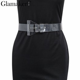Одежда для пвх онлайн-Glamaker Transparent PVC belt cummerbunds Sexy wide waistband fashion accessories Women vintage  cummerband for apparel