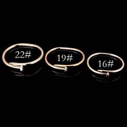 Wholesale gold nail bangle - Fashion 18K Gold Stone Jewelry Titanium Stainless Steel Luxury Brand Stylish Screws cuff Nail Bangle Women gold love Bracelets