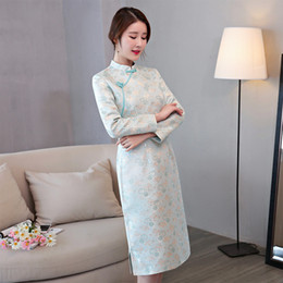 Wholesale Cheongsam Simple - Spring Traditional Chinese Women Simple Dress Novelty Lady Sexy Knee-Length Short Cheongsam Vintage Button Qipao S-XXL LMY20