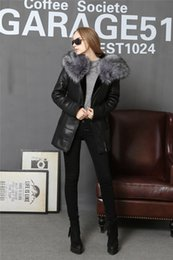 Wholesale fur coat models - 2018 Fur with skin Coat Winter Jacket Women Coats thick Artificial Fashion Slim Suede Female Models leather Fur Collar Faux Fox
