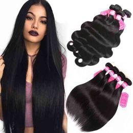 Wholesale Loose Weave Peruvian Hair - 8A Grade Straight Weave Body Wave Loose Wave Brazilian Virgin Hair Bundles Unprocessed Remy Human Hair Malaysian Peruvian Indian Msjoli