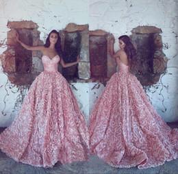 2018 Pink Cariño sin mangas vestidos de noche A-Line 3D Applique vestidos de baile Volver Cremallera tren tren por encargo Formal Fiesta de lujo desde fabricantes