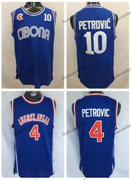 Petrovic trikot online-Herren Vintage Kroatien # 10 Cibona Drazen Petrovic Basketball Trikots Günstige Drazen Petrovic # 4 Jugoslavija Jugoslawien Kroatien genähte Hemden