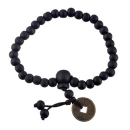 Wholesale ancient buddha - Fashion Wood Buddha Beads Bracelets For Men Chinese Ancient Coins Charm Braiding Macrame Strand