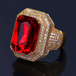 Wholesale Gold 18k Ruby Ring - Luxury Hiphop Zircon Rings For Men Top Quality Real 18K Gold Plated Ruby Ring Fashion ice out Hip Hop Jewelry Freeshipping