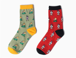 Wholesale Fun Socks Men - Fun Crew Printing Cotton Dress Womens Mens Unisex Lover Middle Tube Socks Red and Green Colors 12 Pairs   Lot