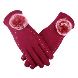 Wholesale Glove Fur Woman - women's winter gloves 2018 genuine fur autumn spring elegant cotton glove real rabbit fur pompom touch screen driver's gloves mittens 210107